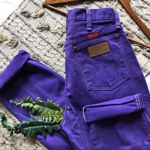 Vintage Wrangler Patch Logo Purple Mom Jeans (27)